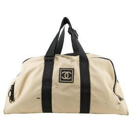 Chanel-XL Beige CC Logo Sports Duffle Bag Travel-Other