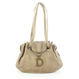 Dior-Champagne Beige Quilted Lambskin Cannage Flap Shoulder Bag-Other