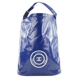 Chanel-XL Blue CC Sports Logo Etanche Waterproof Bucket Hobo Tote-Other
