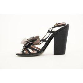 Chanel-09c Black Camelia Flower Sandal Wedge Heels-Other