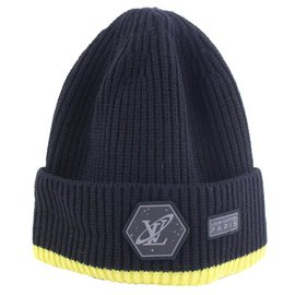 Louis Vuitton-Black x Yellow Cable Knit Gravity Beanie Hat Cap Space-Other
