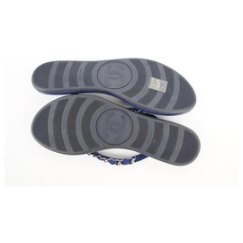 Chanel-Navy Blue x Silver CC Chain Flip Flop Sandals-Other
