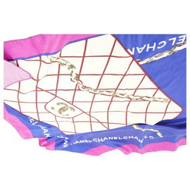 Chanel-Blue x Pink Silk Quilted Classic Flap Silk Scarf-Other