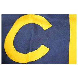 Chanel-Navy x Yellow CC Logo Classic Silk Scarf-Other