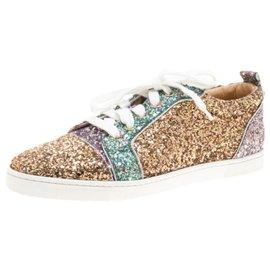 Christian Louboutin-Womens Size 37.5 Gondoliere Orlato Flat Glitter Sneaker-Other