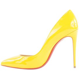 Christian Louboutin-Size 38.5 Yellow Patent Pigalle Follies 100 -Other