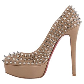 Christian Louboutin-Nude Beige Bianca Spikes 140 nappa-Other