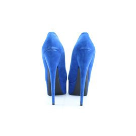 Giuseppe Zanotti-36062 Size 37 Blue Suede Debra Platform Heels-Other