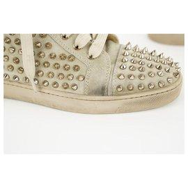 Christian Louboutin-sz 40 Louis Woman Flat Veau Velours Spikes Tan Rantus Sneaker-Other