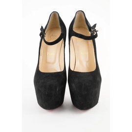 Christian Louboutin-Black Suede Lady Daf 160 Platform Pumps Heels-Other