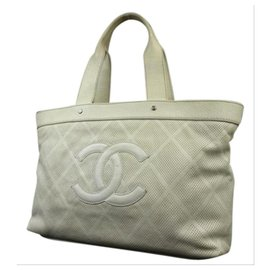 Chanel-Off-White Perforated Leather CC Tote Up in The air-Other