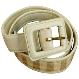 Chanel-Beige CC Stripe Belt-Other