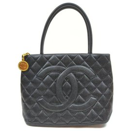 Chanel-Quilted Black Caviar Medallion Tote Zip Bag-Other