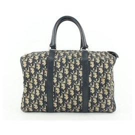 Dior-Navy Blue Monogram Trotter Boston Bag-Other