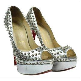 Christian Louboutin-sz 38.5 Silver Spike Lady Peep Platform Heels-Other