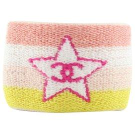 Chanel-Pink x Yellow Star Hear Sweat Band Wrist Wristband Bracelet-Other
