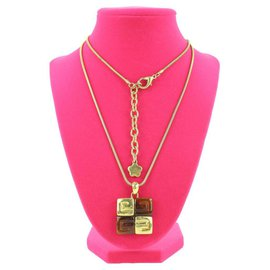 Givenchy-Gold Tone x Amber Greek Key Logo Necklace-Other