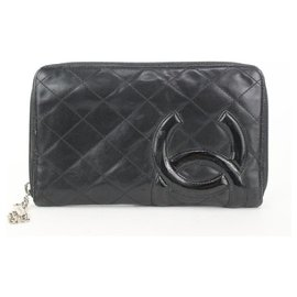 Chanel-Black Quilted Leather Cambon Line Zippy Organizer Wallet-Other
