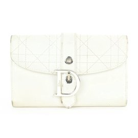 Dior-Off-White Quilted Cannage LEather  Flap Wallet-Other