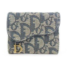 Dior-Blue Monogram Trotter Saddle Compact Wallet-Other