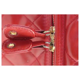 Chanel-Red Quilted Vanity Case Tote Box with Strap-Other