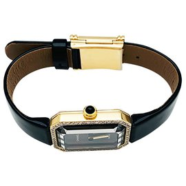 """Chanel-Chanel """"Première"""" watch in yellow gold and diamonds, Leather bracelet.-Other"""