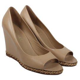 Chanel-Chanel wedges heels-Beige