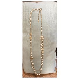 Chanel-Long necklaces-Golden,Eggshell