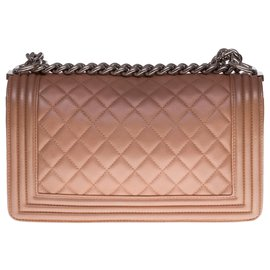 Chanel-Superb Chanel Old Medium shoulder bag in bronze-colored quilted leather, silver metal trim-Bronze