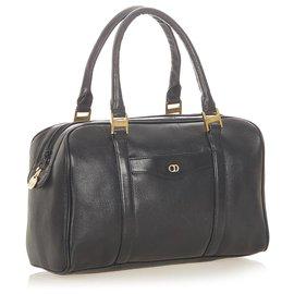 Dior-Dior Black Leather Boston Bag-Black