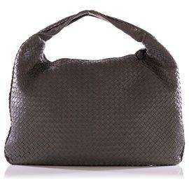 Bottega Veneta-Grey Nappa Intrecciato Leather Large Veneta Hobo-Grey