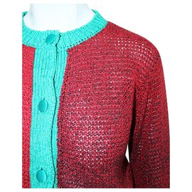 Tsumori Chisato-Red and Green Thick Cardigan-Red
