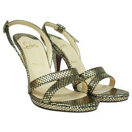 Christian Louboutin-Gold Slingback Sandals-Golden,Metallic