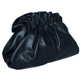 Loeffler Randall-Lorettan Black Leather Clutch-Black