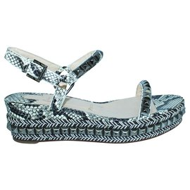 Christian Louboutin-Python Embossed Wedges with Studs -Multiple colors