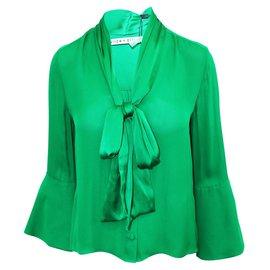 Alice + Olivia-Merideth Tie Neck Blouse-Green