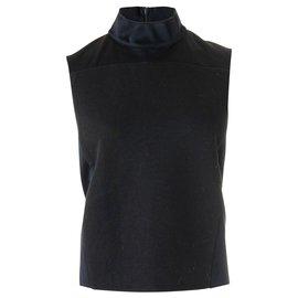 3.1 Phillip Lim-Structured High Neck Smock Top-Black