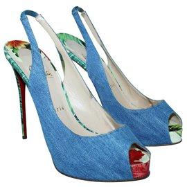Christian Louboutin-Peep-Toe Denim Heels with Floral Print Heel-Multiple colors