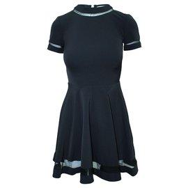 Alice + Olivia-Black Shirt Sleeve Dress-Black