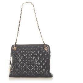 Chanel-Chanel Black CC Timeless Lambskin Leather Shoulder Bag-Black