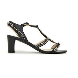 Chanel-classic black chains fr37.5-Black,Silver hardware