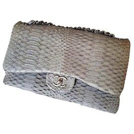 Chanel-Chanel Grey snakeskin Jumbo classic flap bag i-Grey