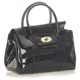Mulberry-Mulberry Black Bayswater Patent Leather Handbag-Black