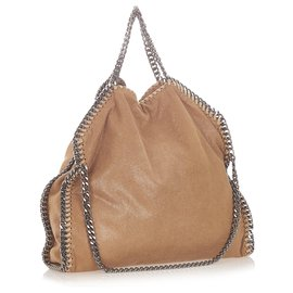 Stella Mc Cartney-Stella McCartney Brown Falabella Fold-Over Tote Bag-Brown,Beige