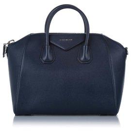 Givenchy-Givenchy Blue Antigona Leather Satchel-Blue