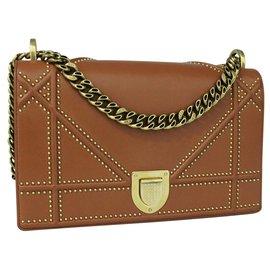 Dior-Brown Diorama Bag with Golden Studs-Brown