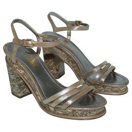 Chanel-Brown Cork Block Heel Sandals-Brown