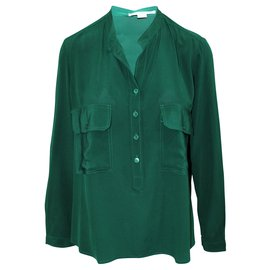 Stella Mc Cartney-Estelle Silk Crepe De Chine Shirt Green-Green