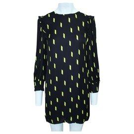 Alice + Olivia-Yellow Print Dress-Black