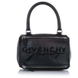 Givenchy-Givenchy Black Pandora Leather Satchel-Black